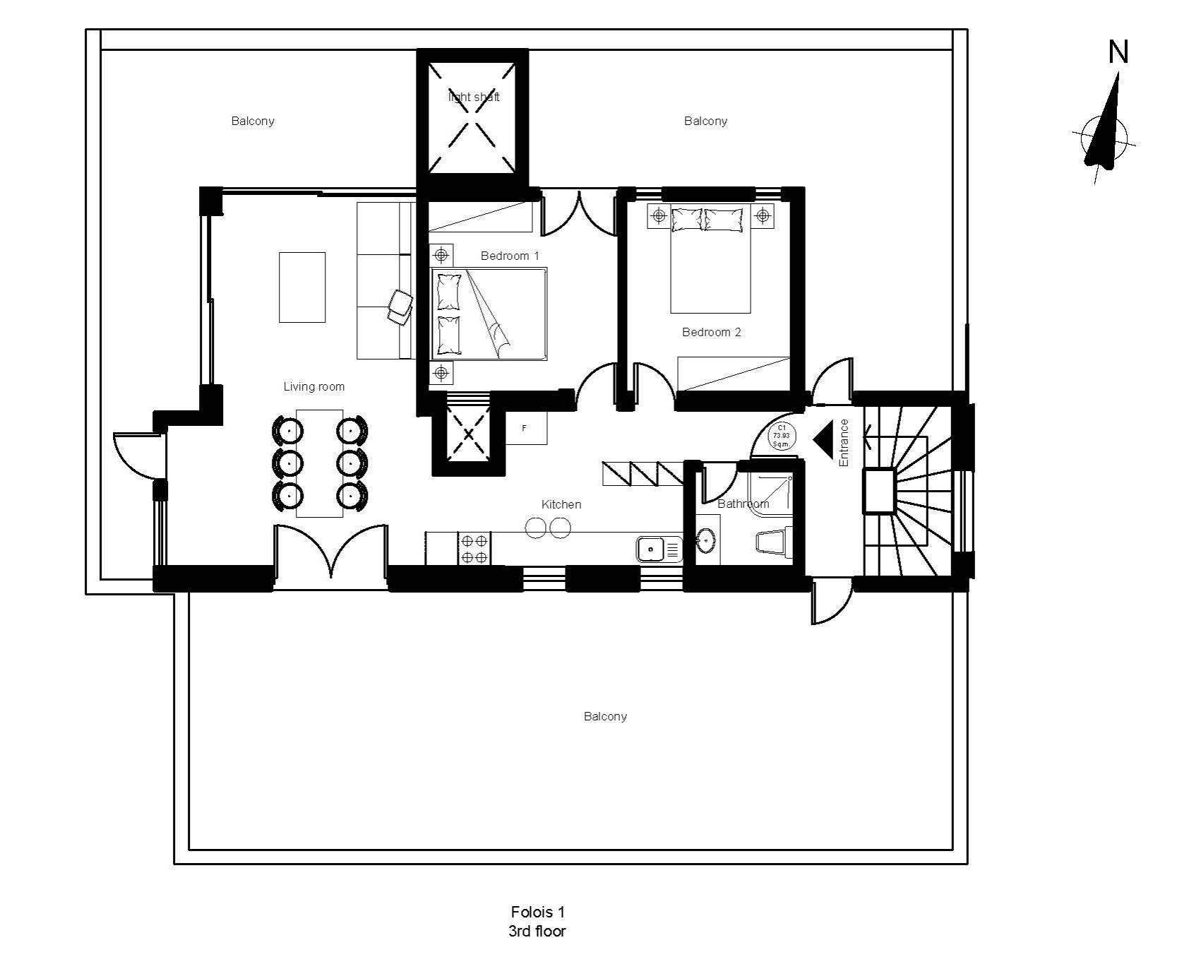 Folois 1 3rd floor plan