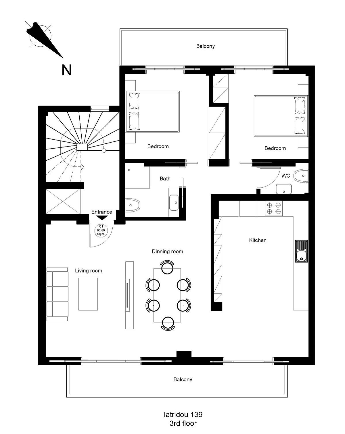 Iatridou 139 3rd floor plan