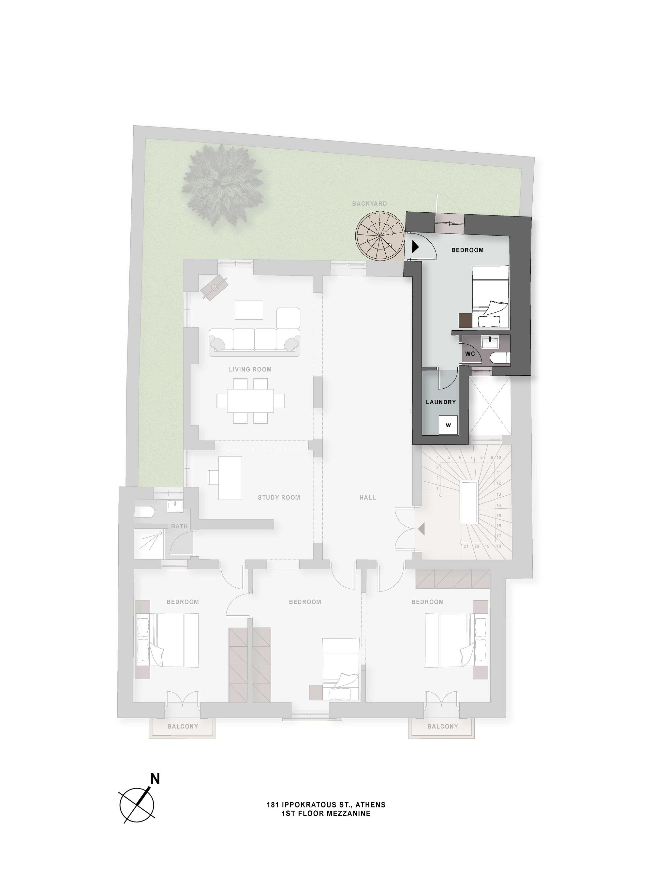 Ippokratous 181 1st floor mezzanine plan