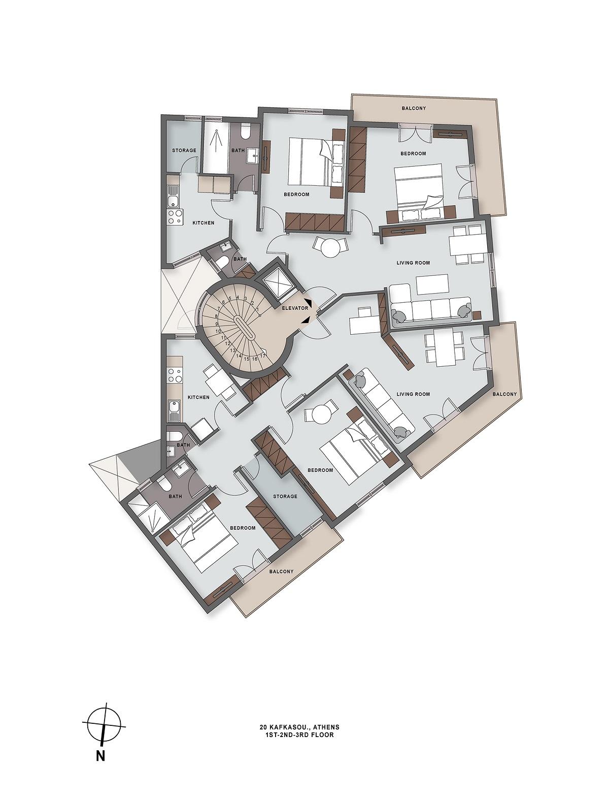 Kafkasou 20 1st ot 3rd floor plan