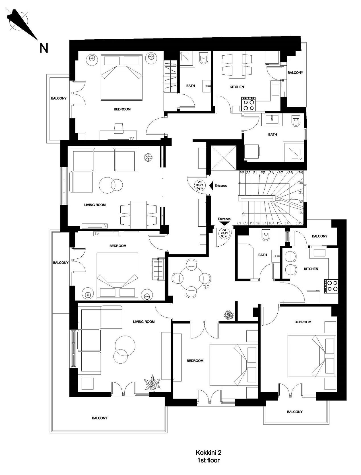 Kokkini 2 1st floor plan