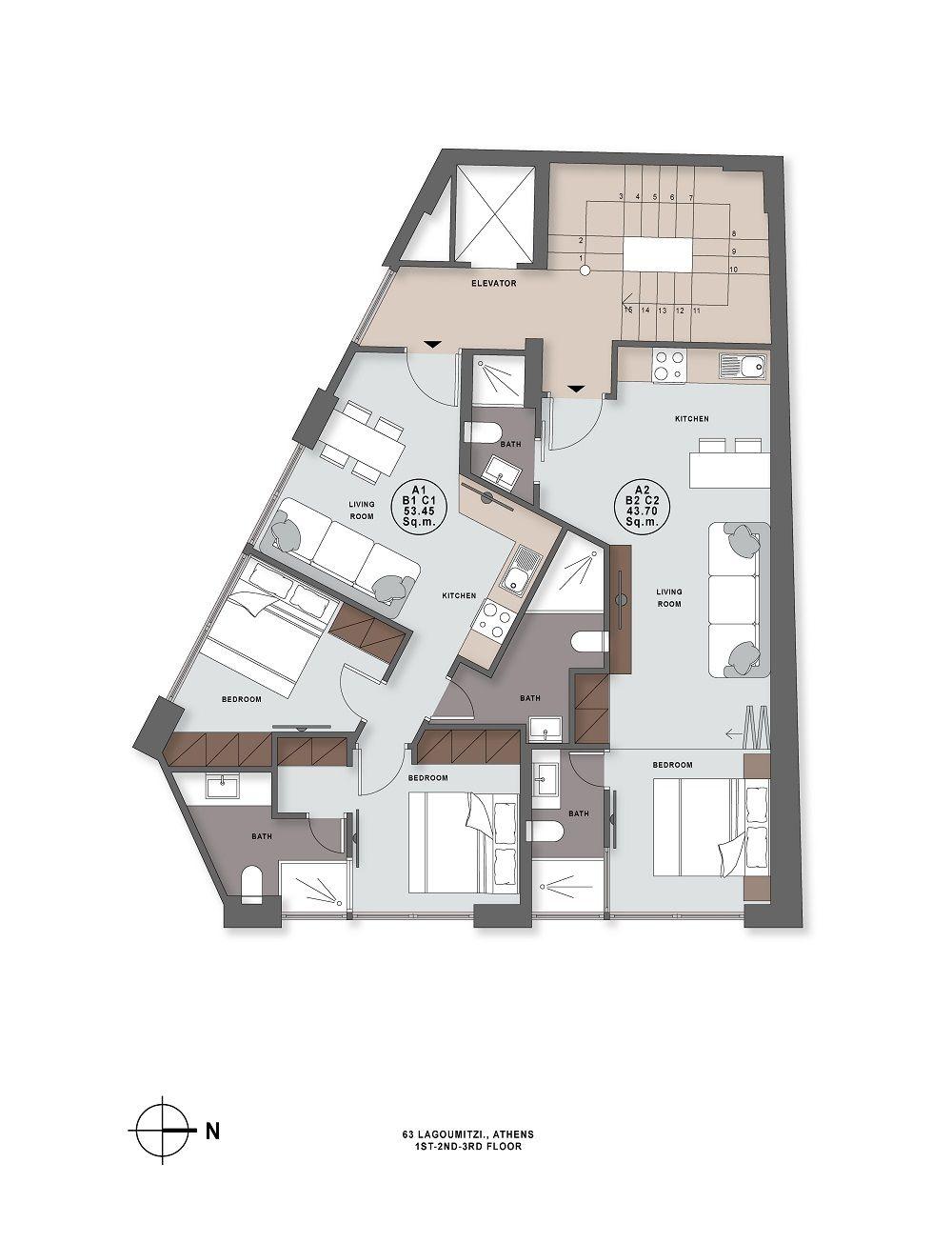 Lagoumitzi 63 1st to 3rd floor plan
