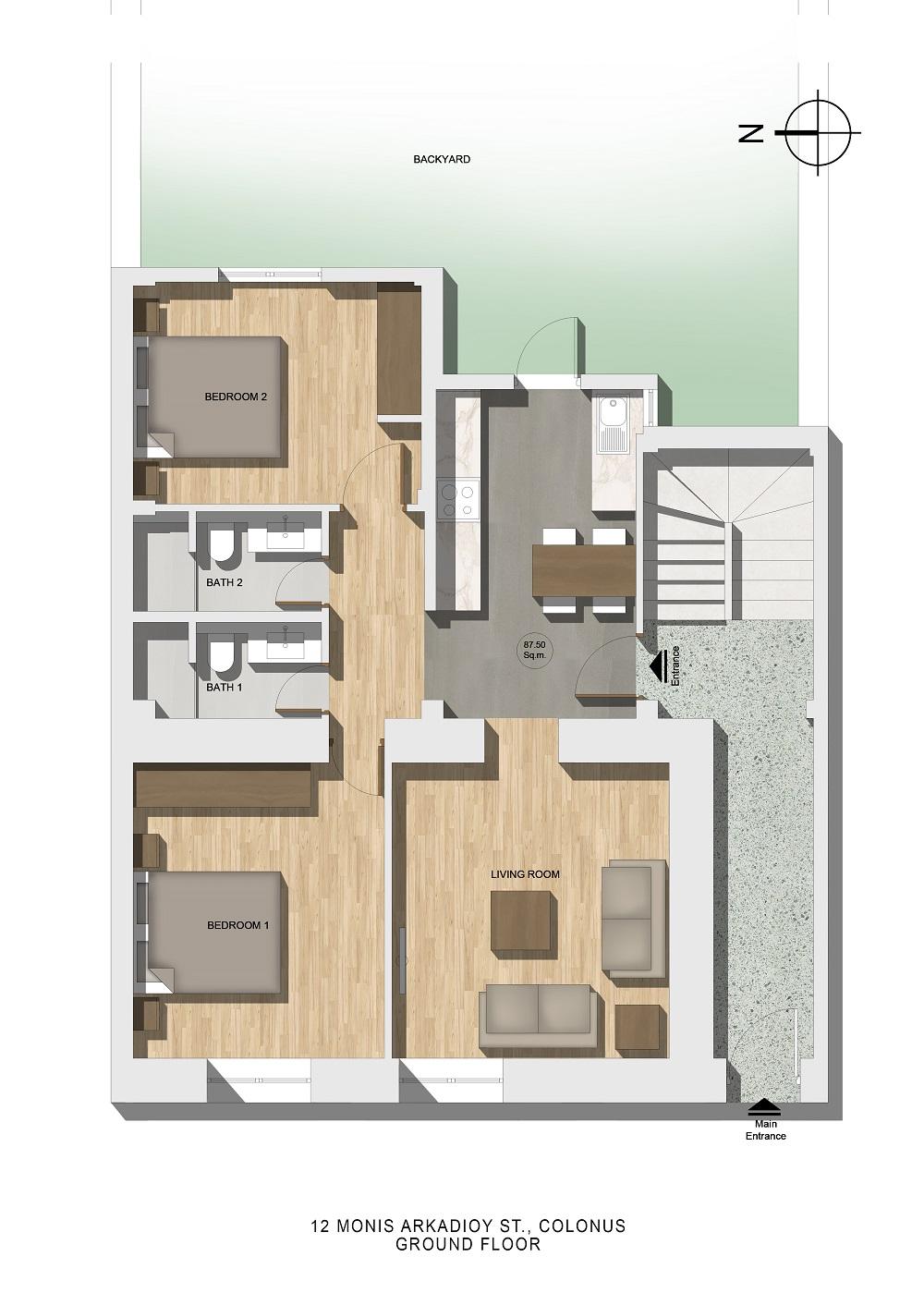 Monis Αrkadiou 12 ground floor plan